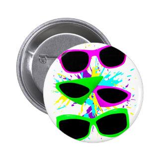Corey Tiger 80s Vintage Neon Sunglasses Splatter 6 Cm Round Badge