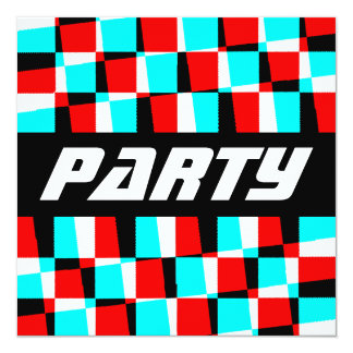 "Corey Tiger 80s Vintage Op Art 5.25"" Square Invitation Card"