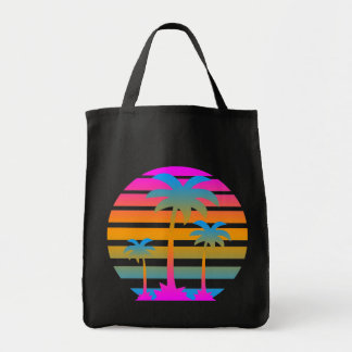 Corey Tiger 80s Vintage Palm Trees Sunset Grocery Tote Bag