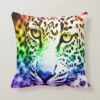 Corey Tiger 80s Vintage Rainbow Snow Leopard Throw Pillow