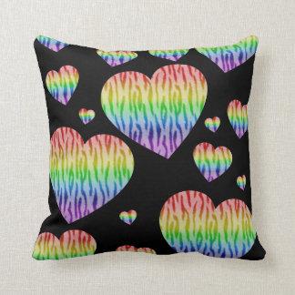 Corey Tiger 80s Vintage Rainbow Valentine Hearts Cushion