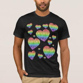 Corey Tiger 80s Vintage Rainbow Valentine Hearts T-Shirt