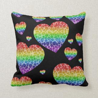 Corey Tiger 80s Vintage Rainbow Valentine Hearts Throw Cushion