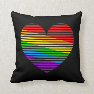 Corey Tiger 80s Vintage Retro Rainbow Love Heart Throw Cushion