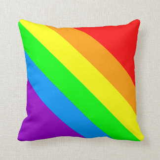 Corey Tiger 80s Vintage Retro Rainbow Stripes Throw Pillow