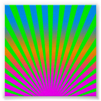 Corey Tiger 80s Vintage Rising Sun Stripes Poster