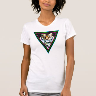 Corey Tiger 80s Vintage Tiger Face Neon Triangles T-Shirt