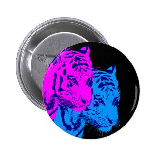 Corey Tiger 80s Vintage Twin Tigers 6 Cm Round Badge