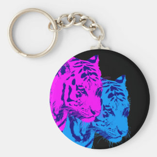 Corey Tiger 80s Vintage Twin Tigers Basic Round Button Key Ring