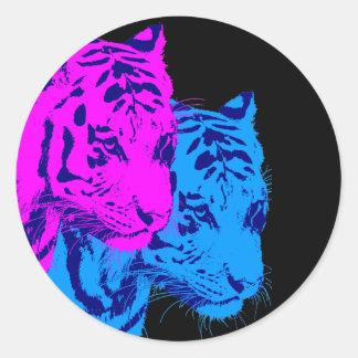 Corey Tiger 80s Vintage Twin Tigers Round Sticker