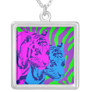 Corey Tiger 80s Vintage Twin Tigers Silver Plated Necklace