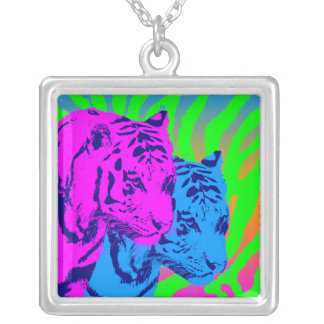 Corey Tiger 80s Vintage Twin Tigers Square Pendant Necklace