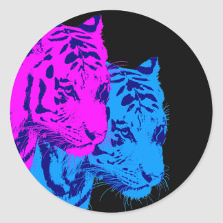 Corey Tiger 80s Vintage Twin Tigers Classic Round Sticker
