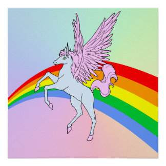 Corey Tiger 80s Vintage Unicorn Rainbow Poster