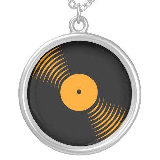 Corey Tiger 80s Vinyl Record Necklace (Orange)