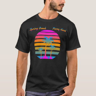 COREY TIGER RETRO SUNSET SPRING BREAK PARTY HARD T-Shirt