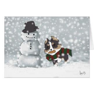 Corgi and the Snowman Card