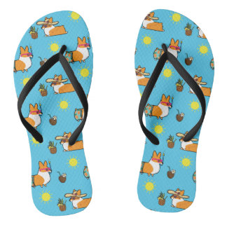 Corgi Beach Party (Red Pembroke) Flip Flops