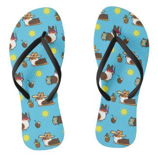 Corgi Beach Party (Tricolor Pembroke) Flip Flops Thongs