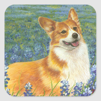 Corgi & Bluebonnets Portrait Square Sticker