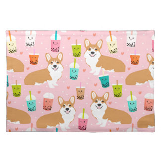 corgi bubble tea boba tea fabric cute placemat