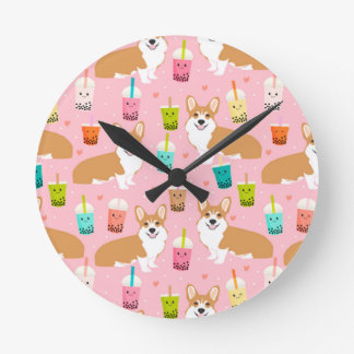 corgi bubble tea boba tea fabric cute round clock