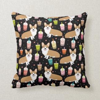 Corgi Bubble Tea - cute dog kawaii design Cushion
