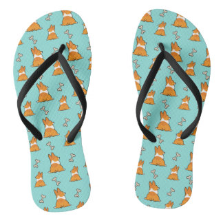 Corgi Butt and Bones Flip Flops