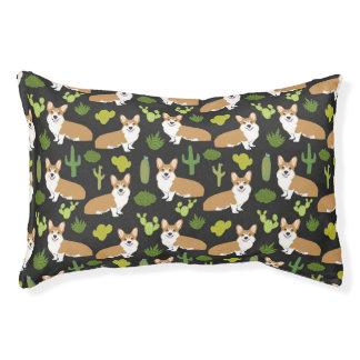 Corgi Cactus - dark, cactus, corgi, dog, dogs, dog Pet Bed