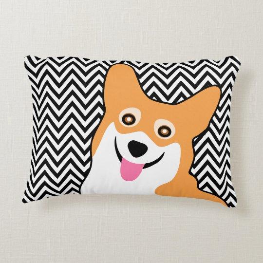 Corgi Chic Chevron Decorative Cushion