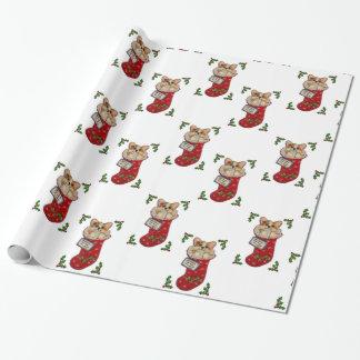 Corgi Christmas Stocking Wrapping Paper