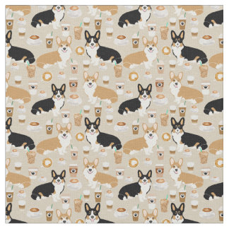 Corgi Coffee - cardigan corgi dogs Fabric