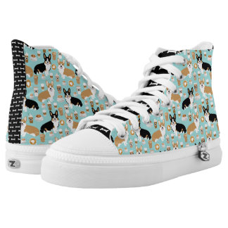 Corgi Coffee High Tops - cardigan corgis