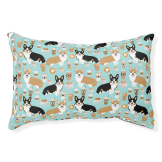 Corgi Coffee Pet Bed - cute tricolored and red