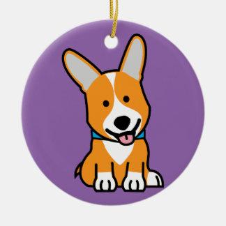 Corgi Corgis dog puppy doggy happy Pembroke Welsh Ceramic Ornament