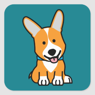 Corgi Corgis dog puppy doggy happy Pembroke Welsh Square Sticker