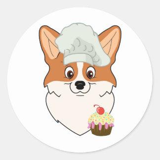 Corgi Cupcake Cartoon Classic Round Sticker