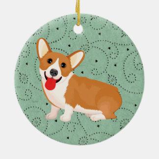 corgi dog ceramic ornament