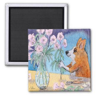 Corgi dog fridge magnet, Corgi flower arranging Magnet