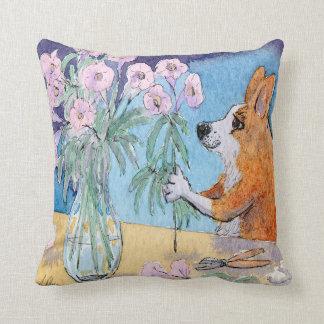 Corgi dog pink cushion, Corgi flower arranging Cushion