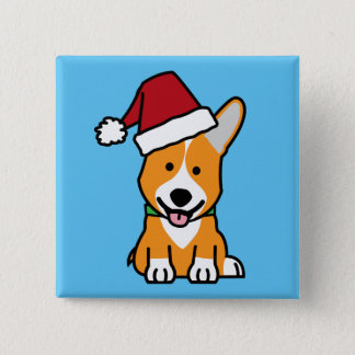 Corgi dog puppy Pembroke Welsh Christmas Santa hat 15 Cm Square Badge