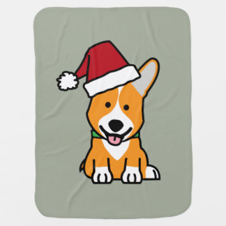 Corgi dog puppy Pembroke Welsh Christmas Santa hat Baby Blanket