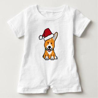 Corgi dog puppy Pembroke Welsh Christmas Santa hat Baby Bodysuit