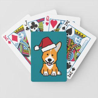 Corgi dog puppy Pembroke Welsh Christmas Santa hat Bicycle Playing Cards
