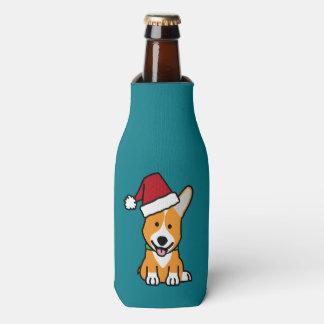 Corgi dog puppy Pembroke Welsh Christmas Santa hat Bottle Cooler