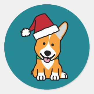 Corgi dog puppy Pembroke Welsh Christmas Santa hat Classic Round Sticker