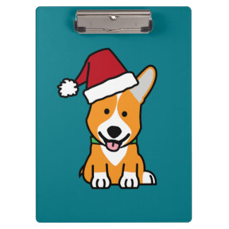 Corgi dog puppy Pembroke Welsh Christmas Santa hat Clipboard