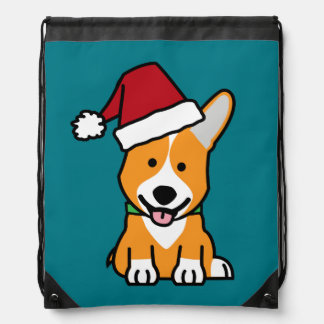 Corgi dog puppy Pembroke Welsh Christmas Santa hat Drawstring Bag