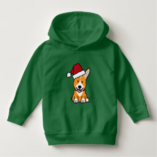 Corgi dog puppy Pembroke Welsh Christmas Santa hat Hoodie