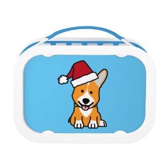 Corgi dog puppy Pembroke Welsh Christmas Santa hat Lunch Box